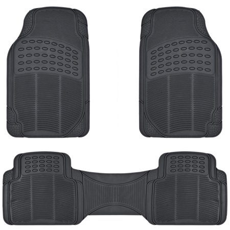 BDK All Weather Solid Rubber Trimmable Front and Rear 3-Piece Universal Car Van Truck Floor Mats