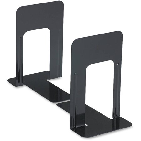 (2 Pack) Universal Economy Bookends, Standard, 5 7/8 x 8 1/4 x 9, Heavy Gauge Steel, Black -UNV54091