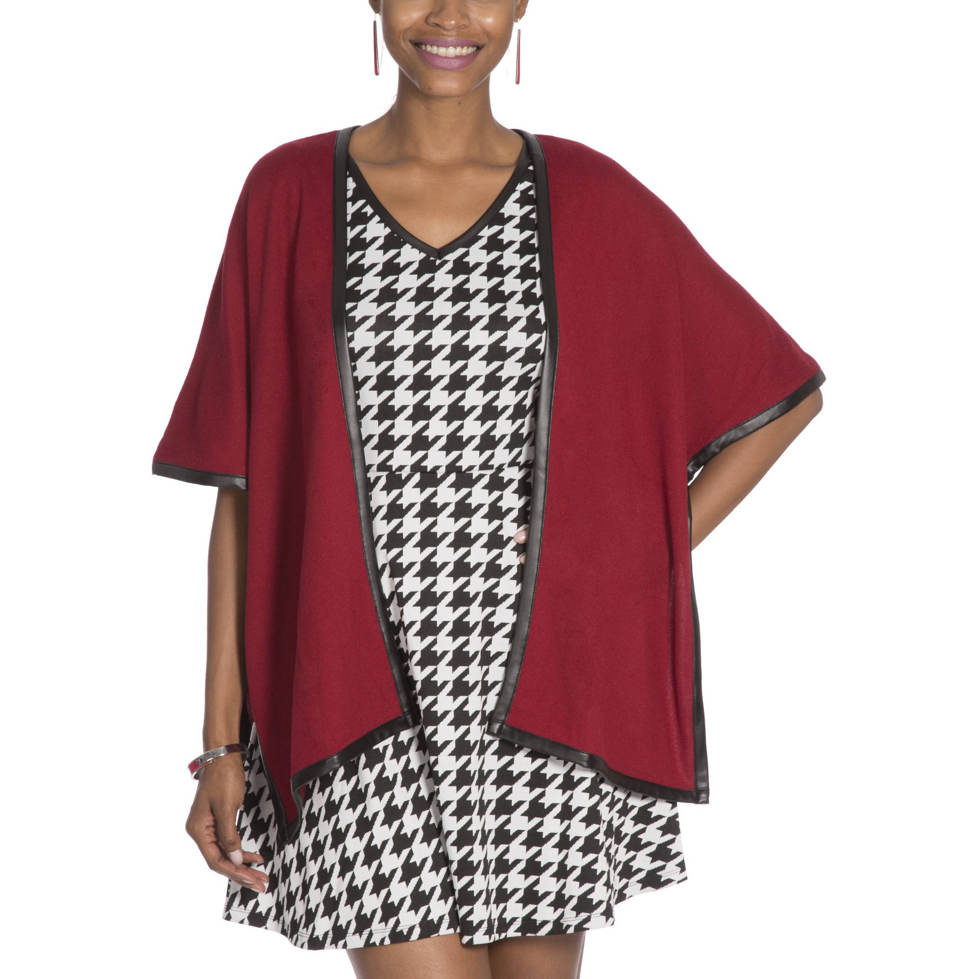 Moda Women's Faux Leather Trim Poncho