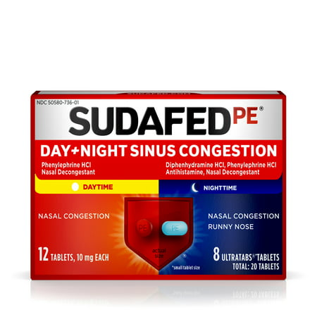 Sinus Tablet Vitamins - Sudafed PE Day and Night Sinus Congestion Tablets, 20 Count