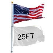YesHom 25ft Telescopic Flag Pole Kit 16 Gauge Aluminum  3'x5' US Flag and Ball Top Telescoping Flagpole Fly 2 Flags