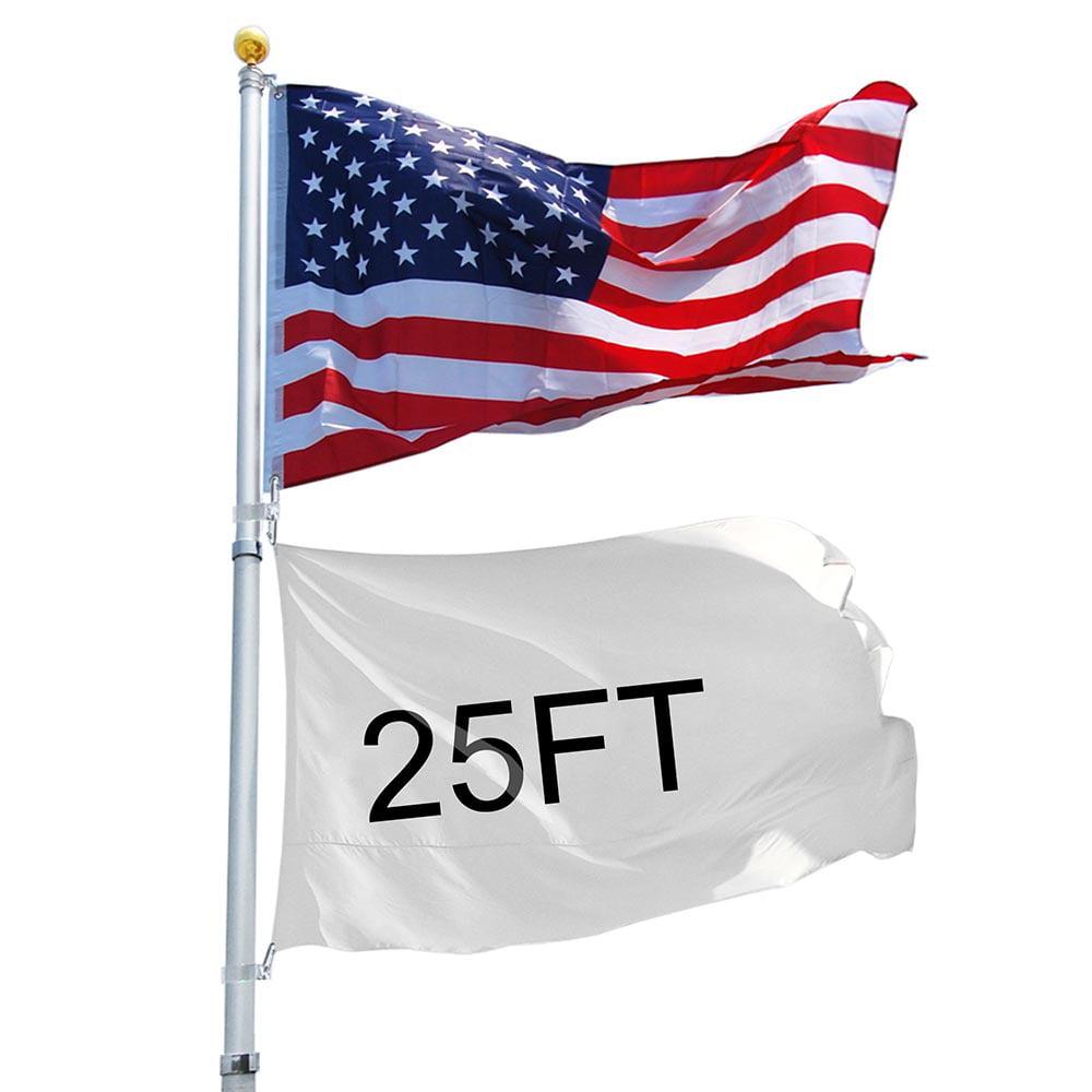 YesHom 25ft Telescopic 16 Gauge Aluminum Flag Pole 3'x5' US Flag and Ball Top Kit Telescoping Flagpole Fly 2 Flags