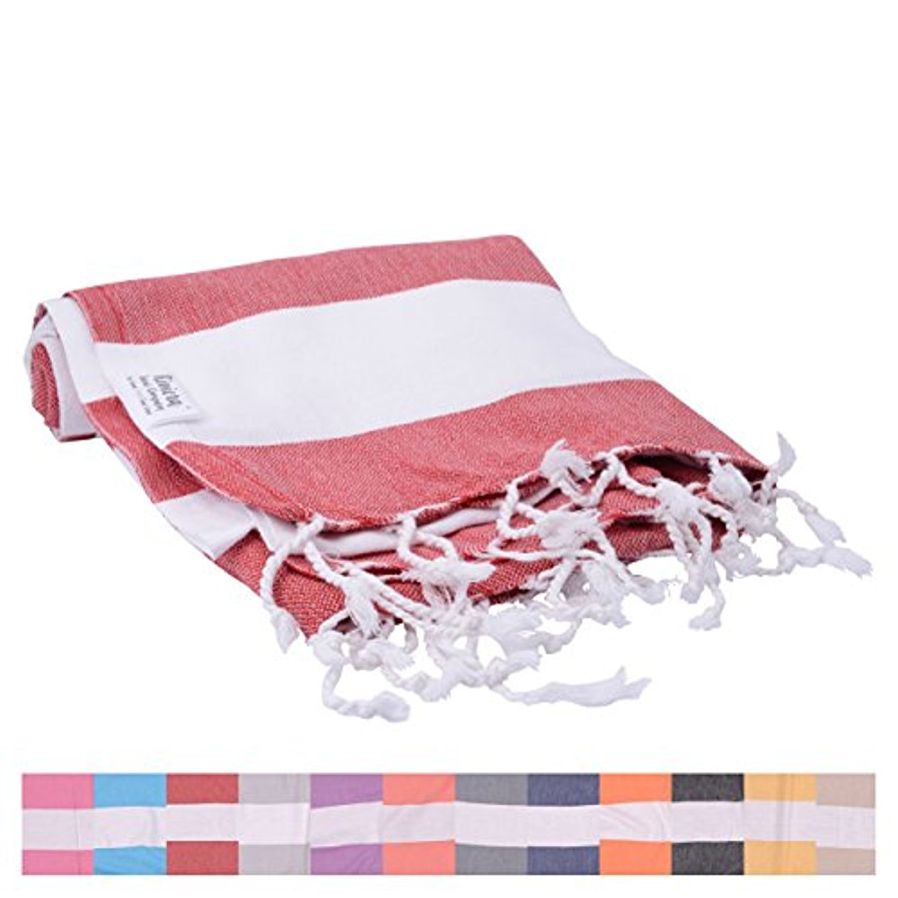 cbde1d584a Biarritz Red Striped Turkish Towel for Bath   Beach - Swimming Pool - Yoga  Pilates - Picnic Blanket - Scarf Wrap - Peshtemal Hammam Fouta by The  Riviera ...