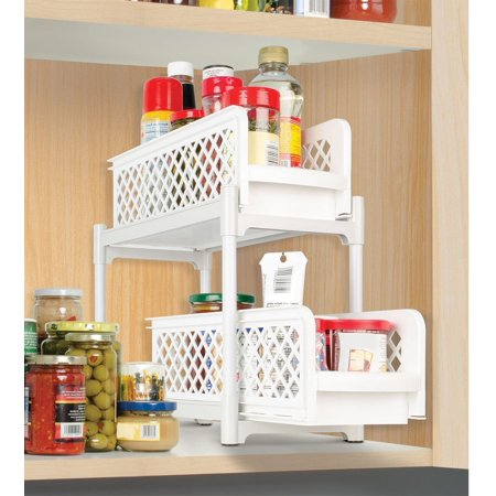 Imperial Home Kitchen Bathroom Plastic 2 Tier Basket Organizer Storage