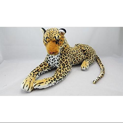 One Jumbo Realistic Leopard In Laying Position Plush Stuffed Animal