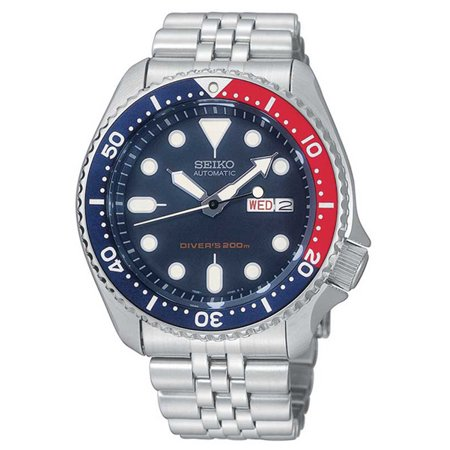 Mens Automatic Dive Watch - 200M - Stainless Bracelet - Blue Dial