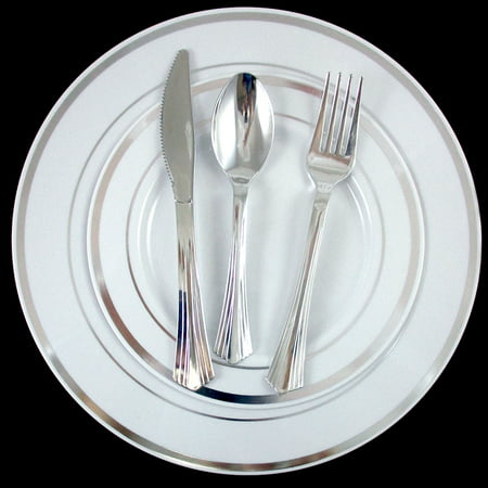 (Bulk Dinner Wedding Disposable Plastic Plates Silverware Party Silver Rim 10