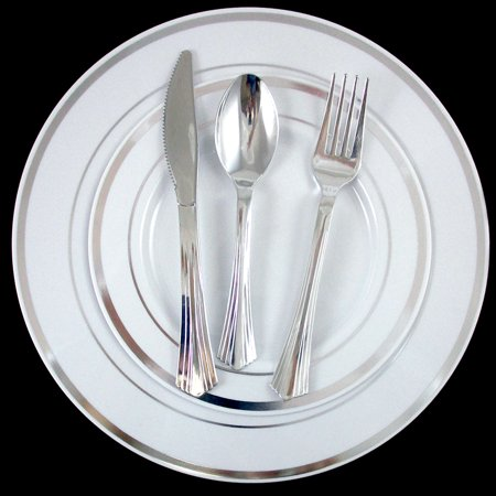 Bulk Dinner Wedding Disposable Plastic Plates Silverware Party Silver Rim 10