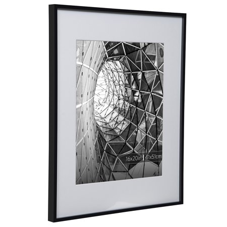 Burnes of Boston 16x20 Aluminum Gallery Frame in Smooth Black Finish Matted To 11x14