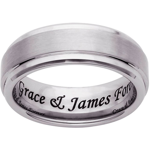 Personalized Tungsten Polished and Satin Inner Message Band