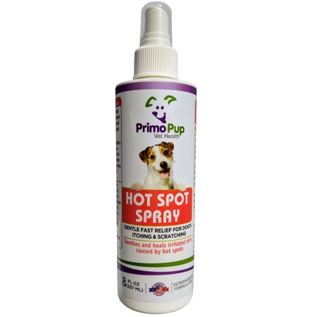 HOT SPOT SPRAY for Dogs - Primo Pup Vet Health - with Tea Tree Oil - Veterinarian Formulated for Fast Relief of Itching and Scratching - Soothes and Heals Irritated Skin - 8 fl oz Dog Hot Spot Treatment