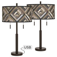 Giclee Glow Woodwork Diamonds Robbie Bronze USB Table Lamps Set of 2