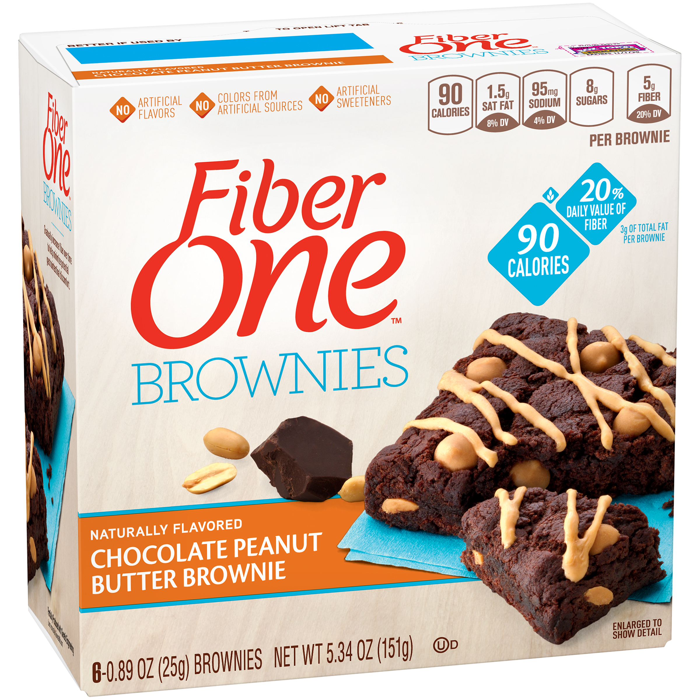 Fiber One��� 90 Calorie Chocolate Peanut Butter Brownies 6 ct Box