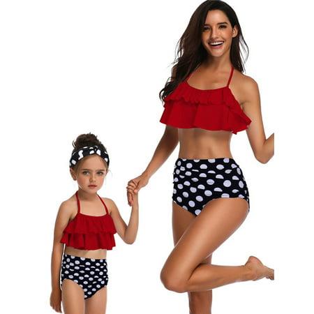 S-XXL Family Matching Swimwear Mother Daughter Women Kids Girl Bikini Set Beachwear Bathing Suit Swimsuits Beachwear Push-Up Bra Bandage