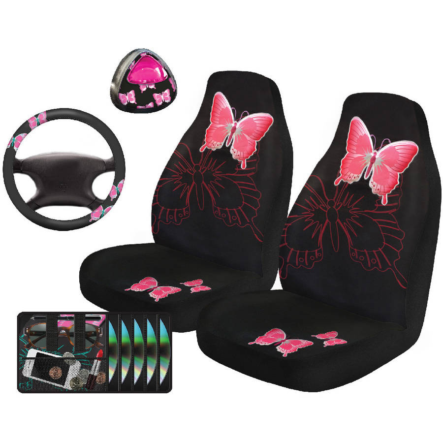Auto Drive 5-Piece Pink Butterfly Steering Wheel and Seat Cover Kit