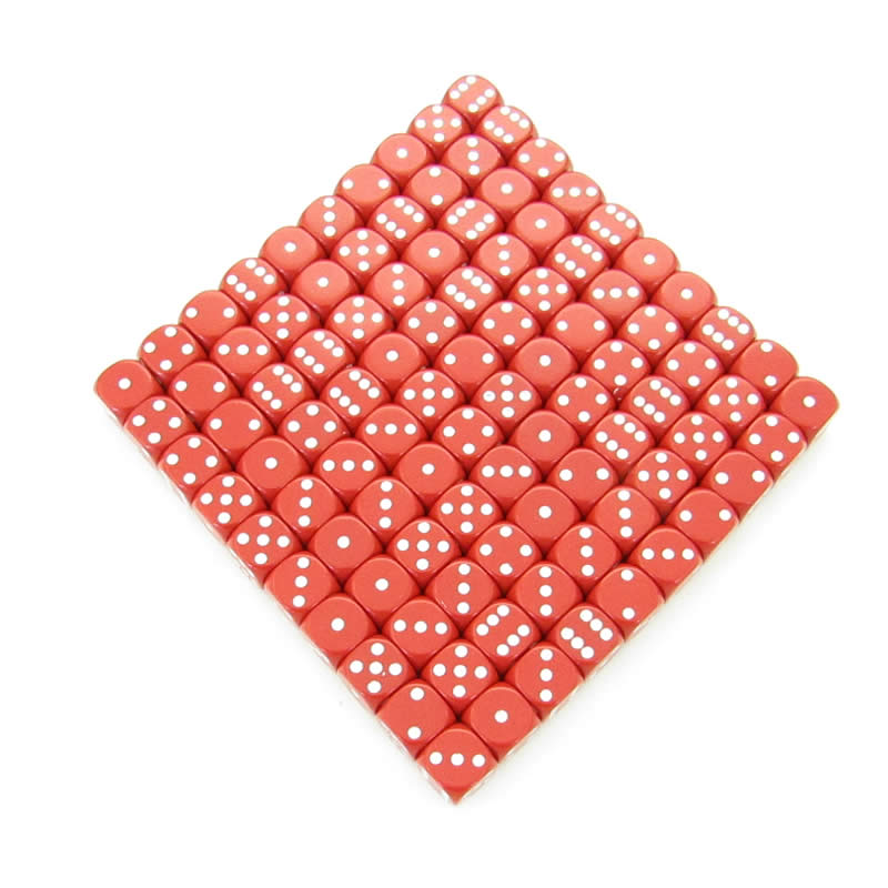 Red Opaque Dice with White Pips D6 12mm (1/2in) Bulk Pack of 100 Wondertrail