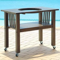 Table for 18 Inch Ceramic Charcoal Kamado Grill and Smoker - Antique Grey CT-M-AG