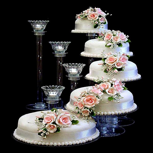 Balsacircle 5 Tiers Clear Wedding Party Centerpiece Cake