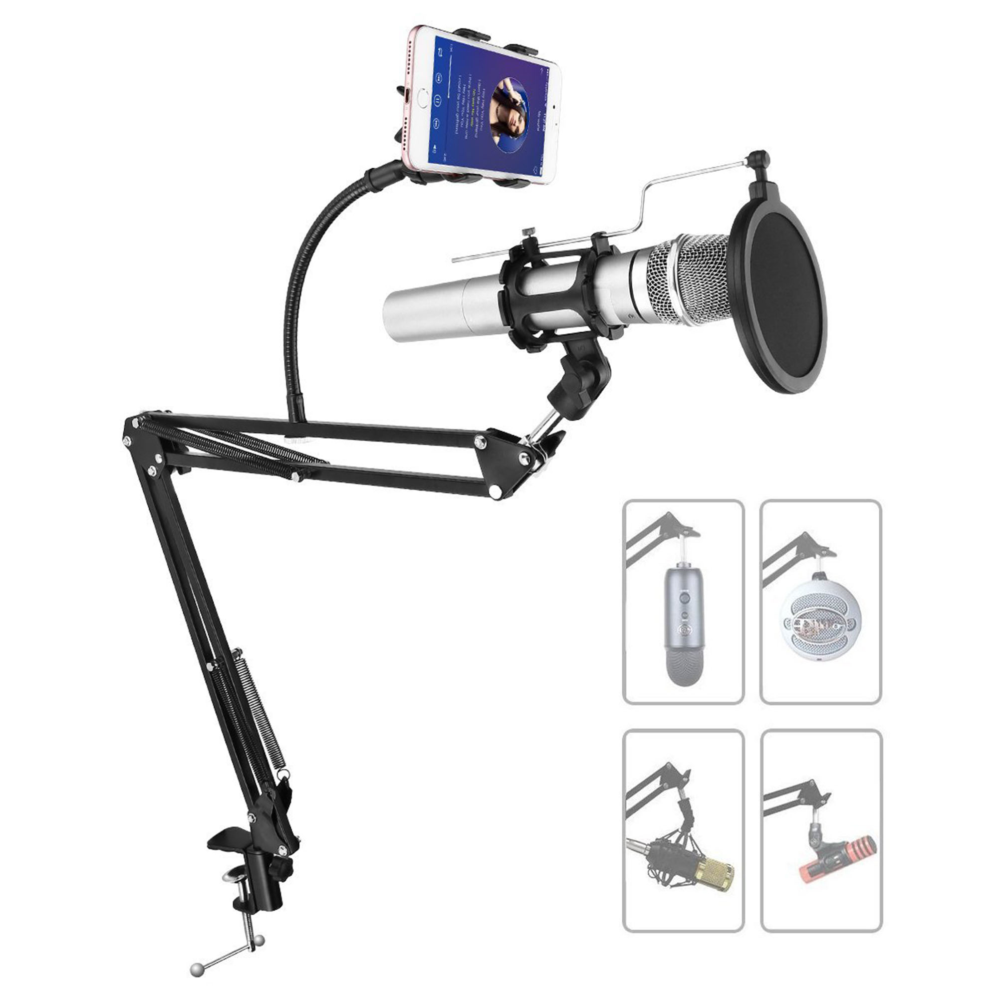Powerextra Adjustable Recording Microphone Stand Suspension Boom Mic Clip Scissor Arm Mount Holder With Mic Shock Round Shape Wind Pop Filter,Adjustable Cell Phone Stand Holder