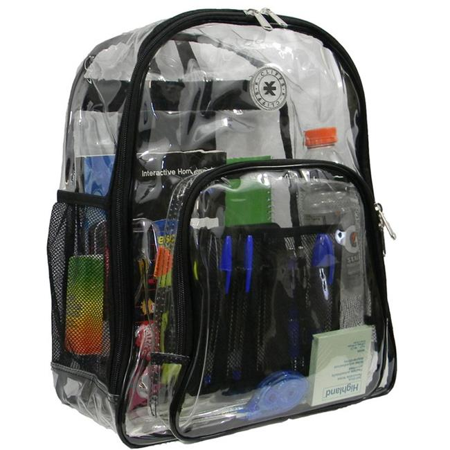 Harvest LM213 BLK Deluxe 17 inch See-through Clear 0. 5 mm.  PVC Backpack