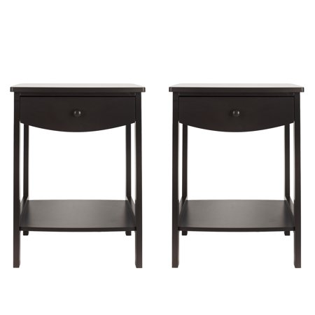 UBesGoo Set of 2 Two Layers Nightstands Beside End Table Night Stand Bedroom Side Bed Desk Couchside Organizer Storage Cabinet with Drawer Home Furniture