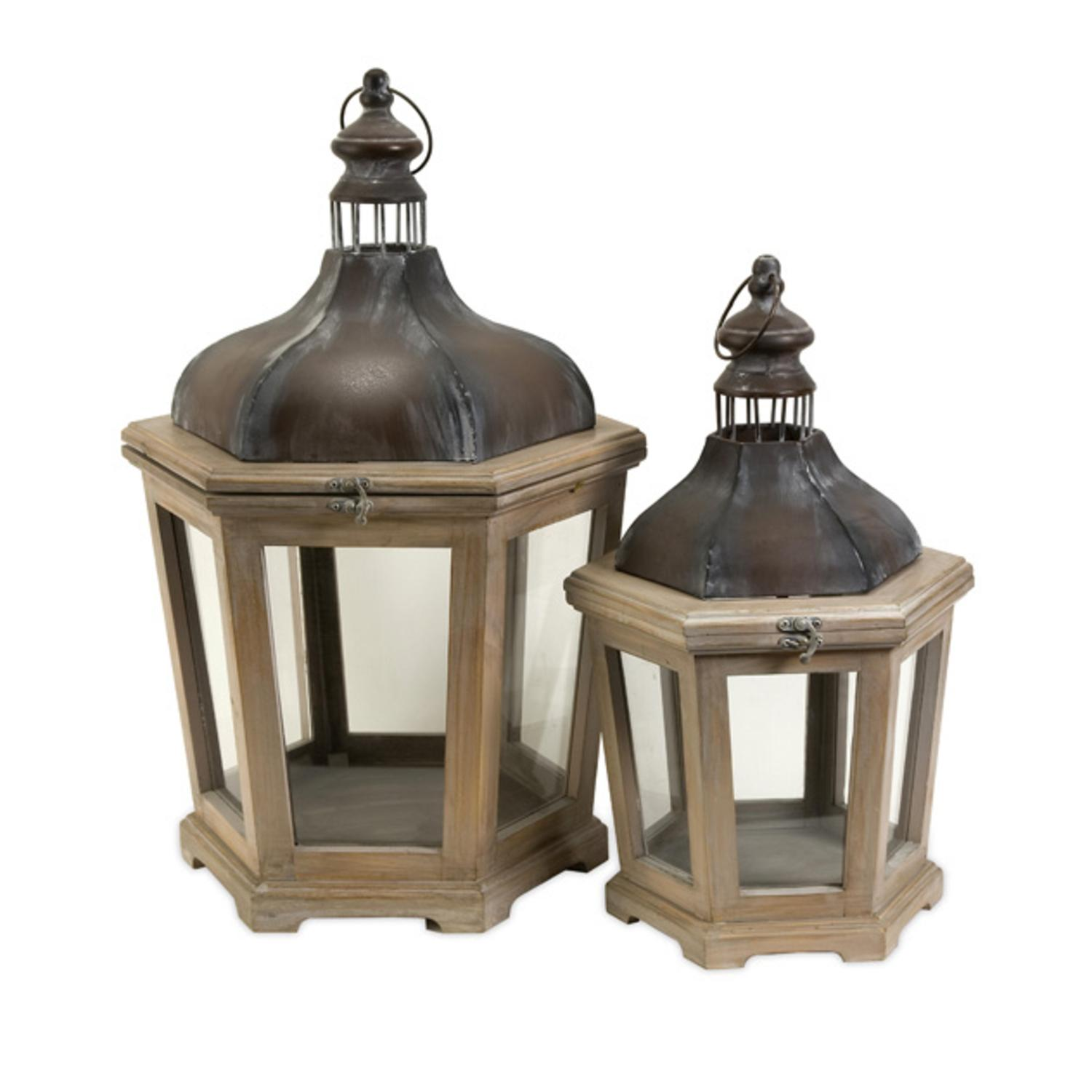 """Set of 2 White-Washed Wood Pillar Candle Lanterns with Aged Metal Accents 26.5"""""""