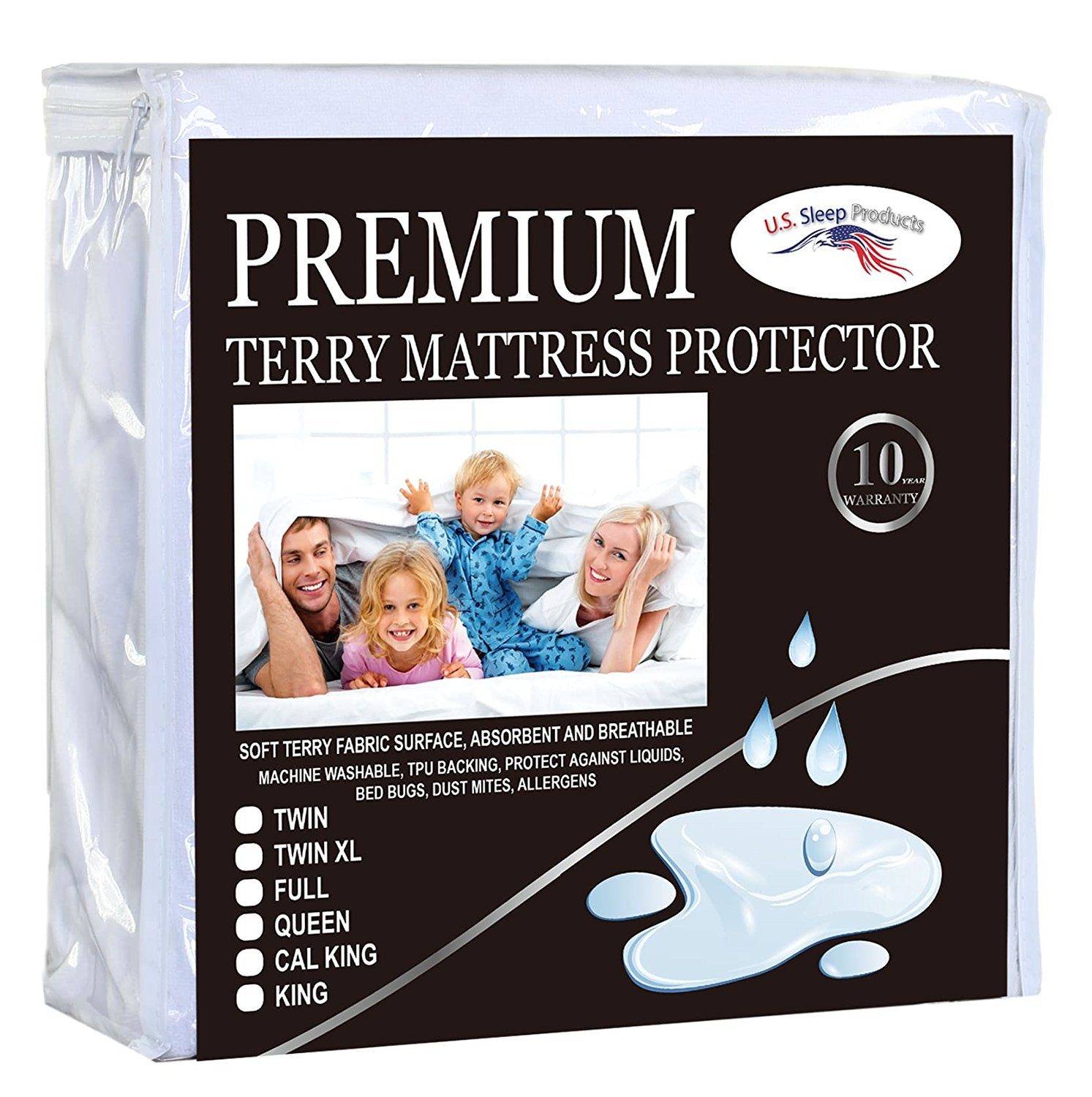 Premium Terry Mattress Protectors 100% Cotton Waterproof Soft Noiseless Washable Queen