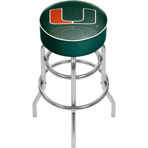 University of Miami Chrome Bar Stool with Swivel, Reflection