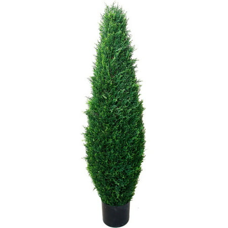 41 Inch Artificial Cyprus Tree – Large Faux Potted Evergreen Plant for Indoor or Outdoor Decoration at Home or Office by Pure Garden ()