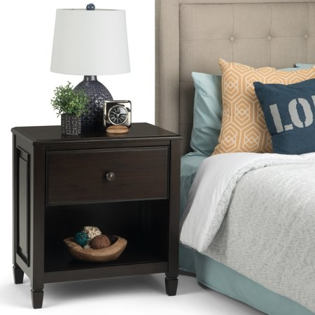 WyndenHall  Hampshire Solid Wood 24 inch Wide Transitional Bedside Nightstand Table in Dark Chestnut Brown