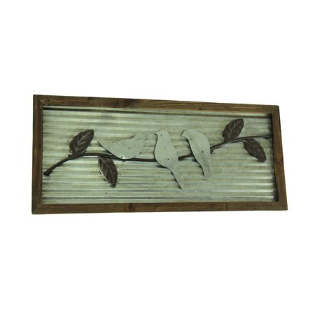 Rustic Birds On a Branch Wood Framed Metal Wall Hanging](Metal Bird Wall Decor)