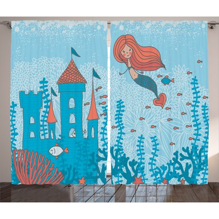 Kids Curtains 2 Panels Set, Illustration Art of Little Mermaid Under the  Sea in Corals with Castle and Little Fish, Living Room Bedroom Decor, Teal  ...