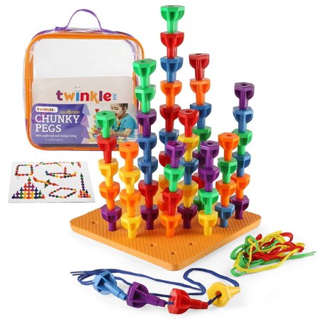 Twinkle me Pegs Board Game Set - 60 Chunky Pegs W/ Board & Storage Bag W/ Handle Easy to Carry. for Motor Skills Sorting Counting Color Recognition Occupational Therapy Toddler and Preschool - Preschool Class Halloween Games