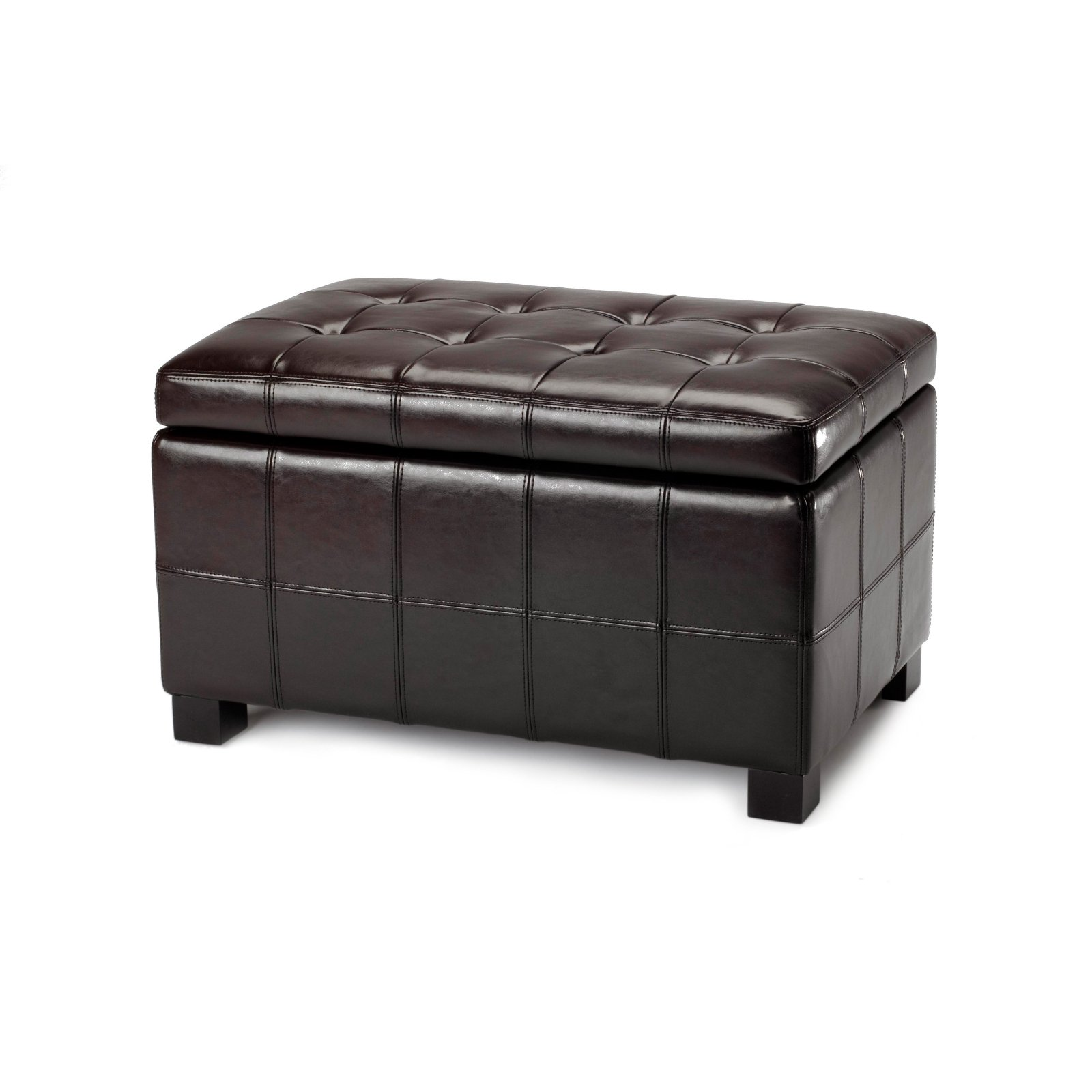 Genial Safavieh Small Brown Maiden Tufted Brown Leather Storage Ottoman