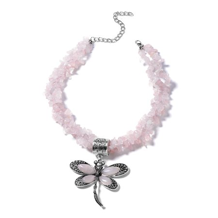 Galilea Rose Quartz Dragonfly Pendant With Necklace 18