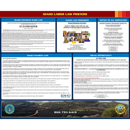 Compliance Assistance  2018 Idaho State All In One Labor Law Poster   Up To Date  Thick Lamination  Compact  Osha Compliant