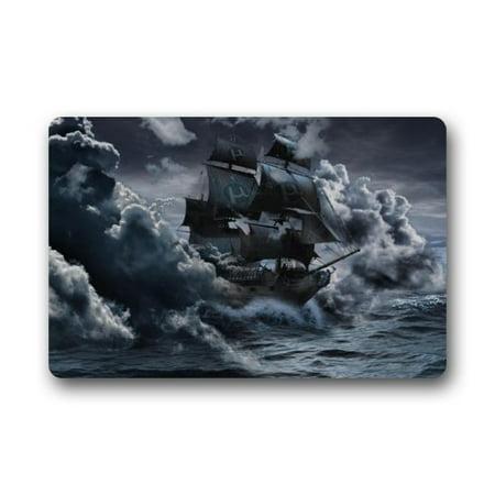 WinHome Vintage Sailboat Vessel Sailing Boat Pirate Ship On The Sea Doormat Floor Mats Rugs Outdoors/Indoor Doormat Size 23.6x15.7 inches