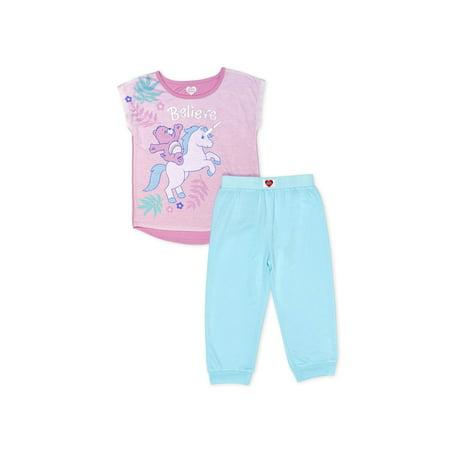 Girls' Care Bears Girl's Believe 2 Piece Pajama Sleep Set (Little Girl & Big