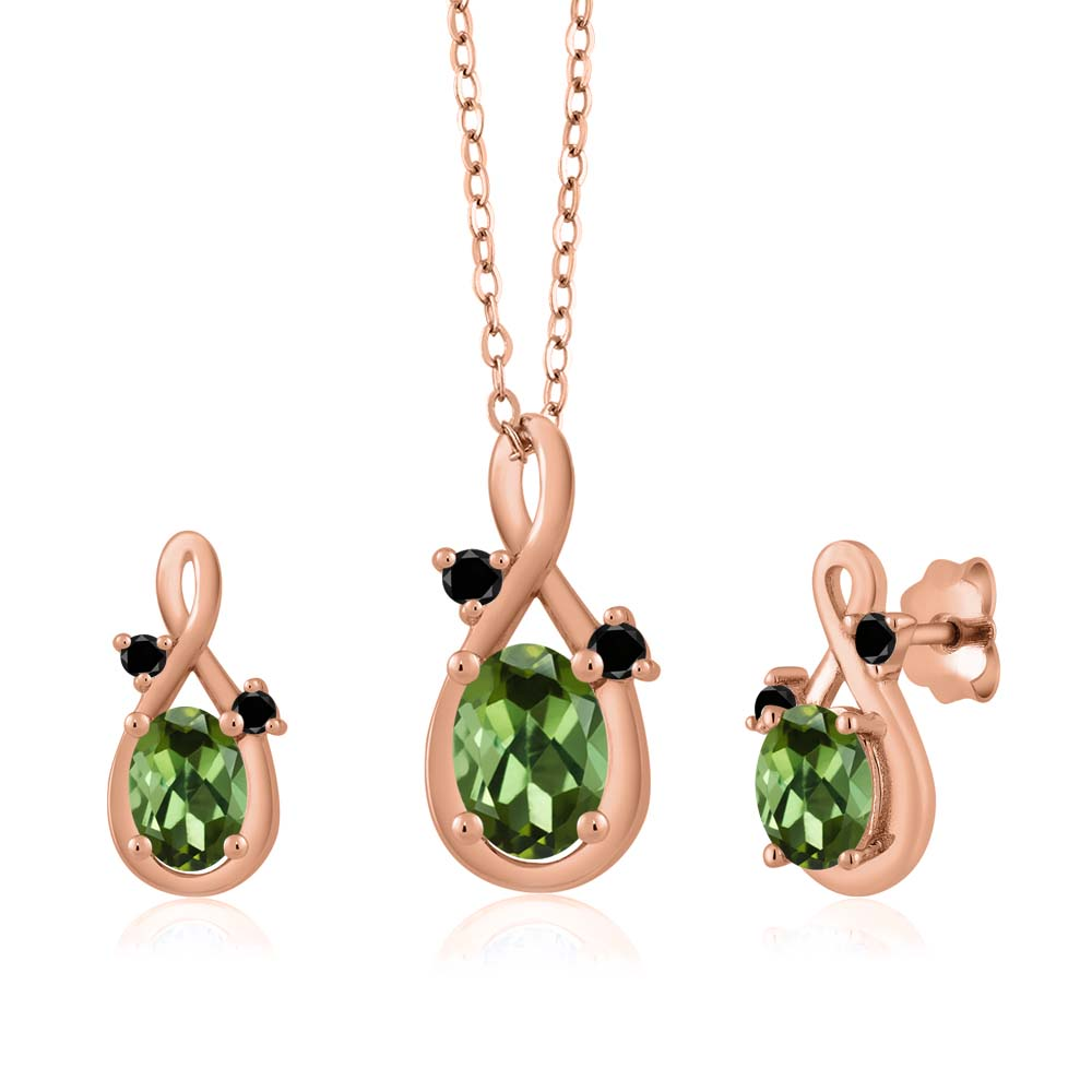 1.80 Ct Oval Green Tourmaline 18K Rose Gold Pendant Earrings Set by