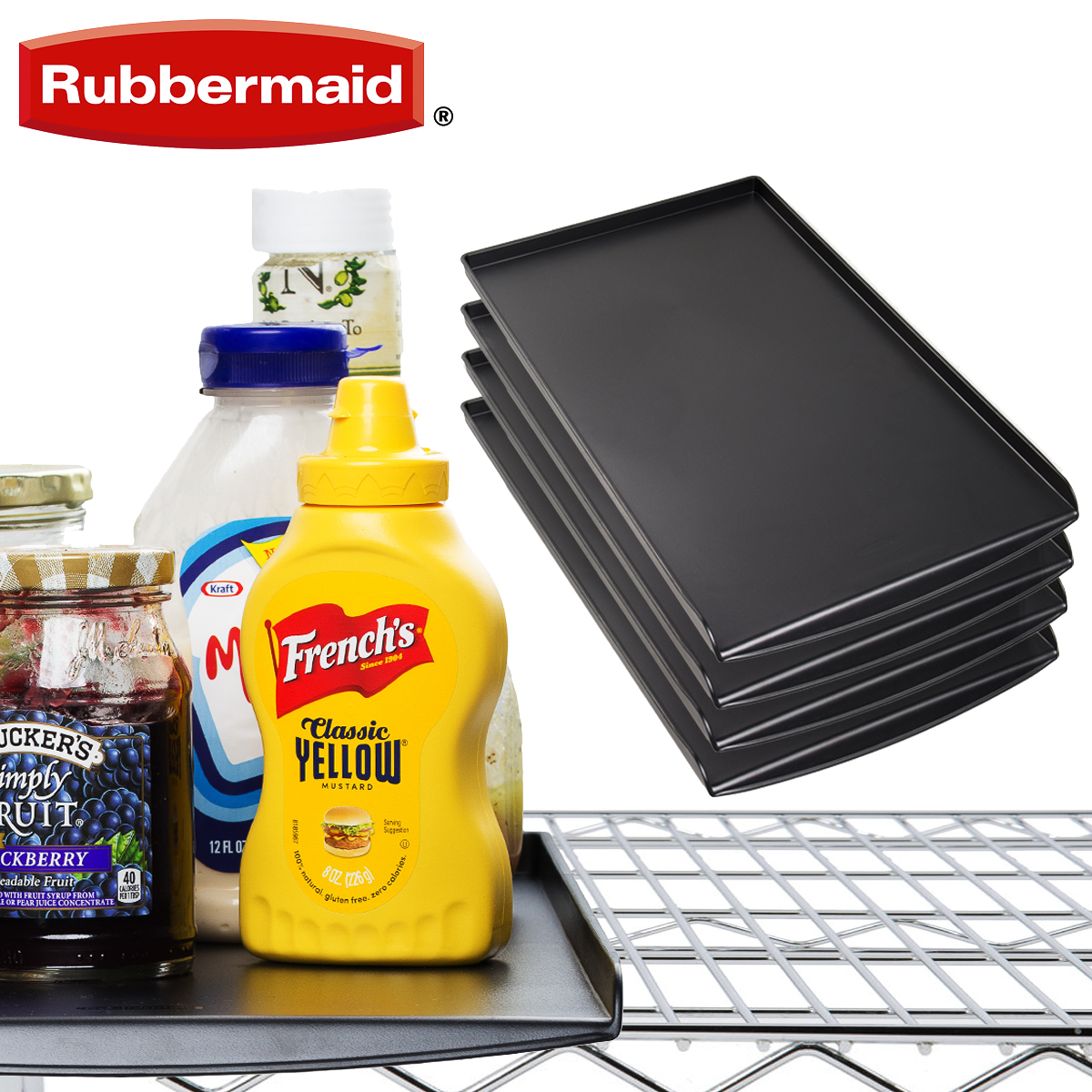 4 Rubbermaid Black Kitchen Pantry Or Cabinet Organization Trays For Wire Shelves Organizer Drawer