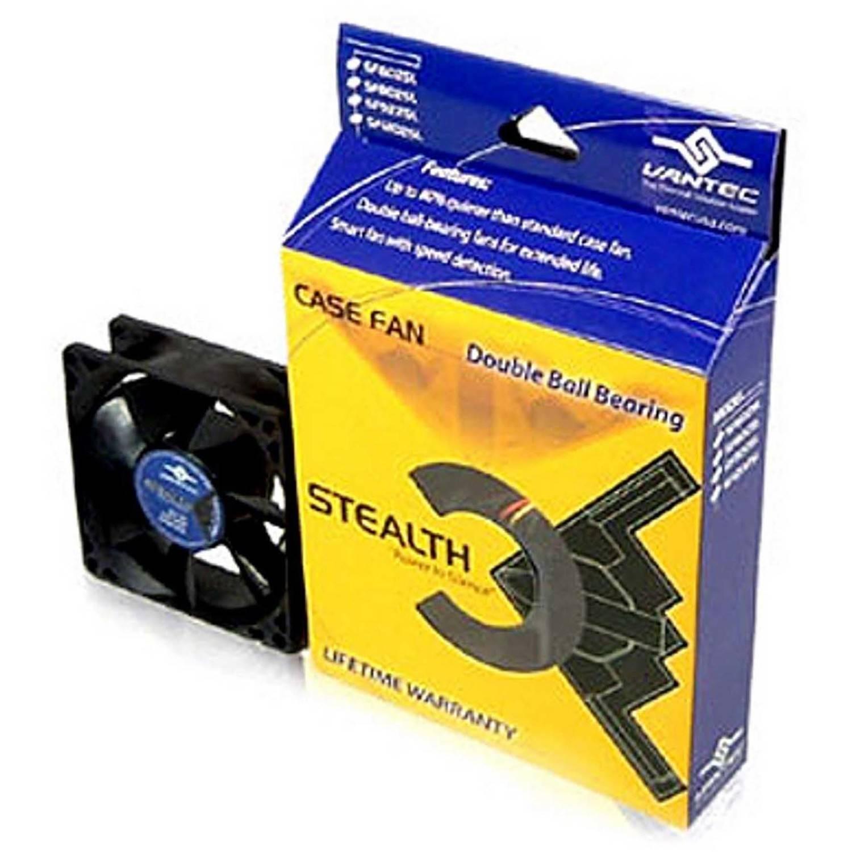 Vantec SF8025L 80mm x 80mm x 25mm Dual Ball-Bearing Silent Case Fan, Black