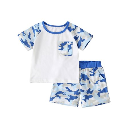 2Pcs Casual Camo Loung Wear for Toddler Boy Clothes Kids Summer Cotton Outfits Shirt Short Sets Short Sleeve Top + Short Pants thumbnail