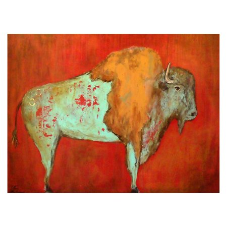 West Of The Wind Red Buffalo Outdoor Canvas Wall Art