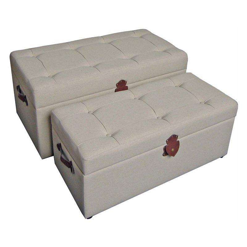 International Caravan Charlotte Tufted Fabric Storage Ottoman - Set of 2