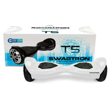SWAGTRON T5 Entry Level Hoverboard for Kids/Young Adults; Optional Learning Mode; Patented Battery Protection (White) for $<!---->