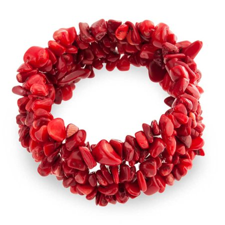 Bling Jewelry Woven Red Simulated Coral Chips Chunky Stretch Bracelet Dragon Red Coral Bracelet