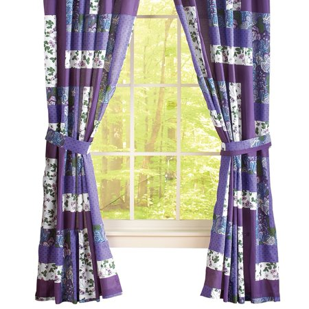 Caledonia Lavender Floral Patchwork Rod Pocket Window Curtains, Panel Pair, Purple