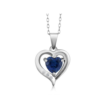 Classics 6mm Simulated Blue Sapphire White Topaz 925 Silver Heart Pendant - Blue Necklaces