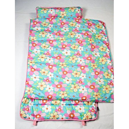 Soho Extra Roomy Nap Mat For Toddlers Aqua Flower With Pillow And Carrying Strap For Preschool Or Daycare