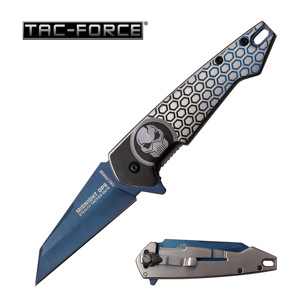 Tac Force Assisted Opening Blue Titanium Coated Carbon Steel Skull Knife